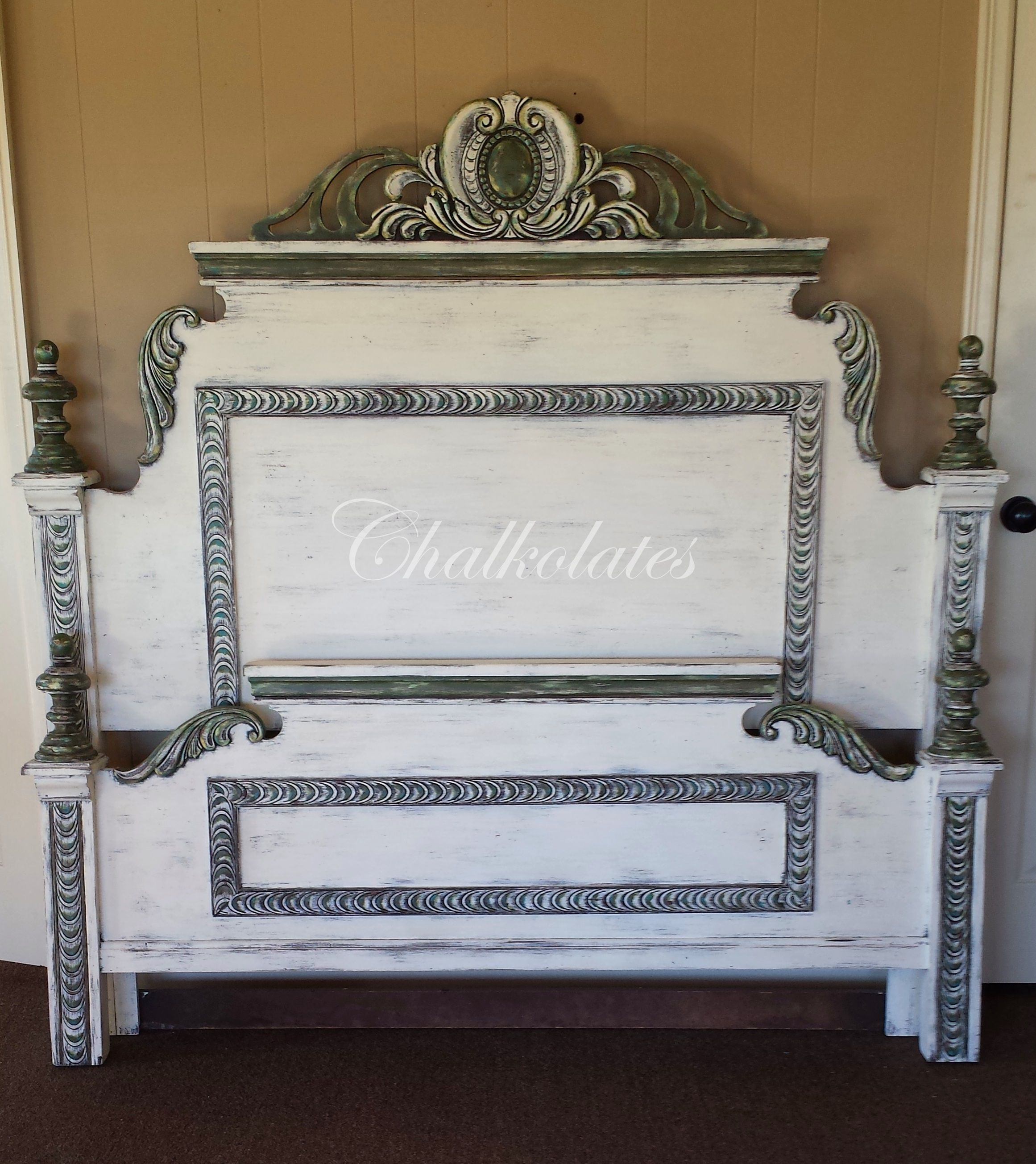 Custom Painted Bed Frame Head Board White Distressed Glazed Green Gold Turquoise Ornate Cottage Painted Bed Frames Painted Beds Flipping Furniture