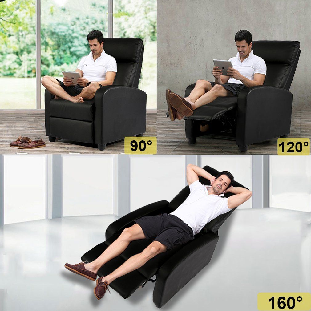 Bestmassage Modern Leather Chaise Couch Single Recliner Chair Sofa