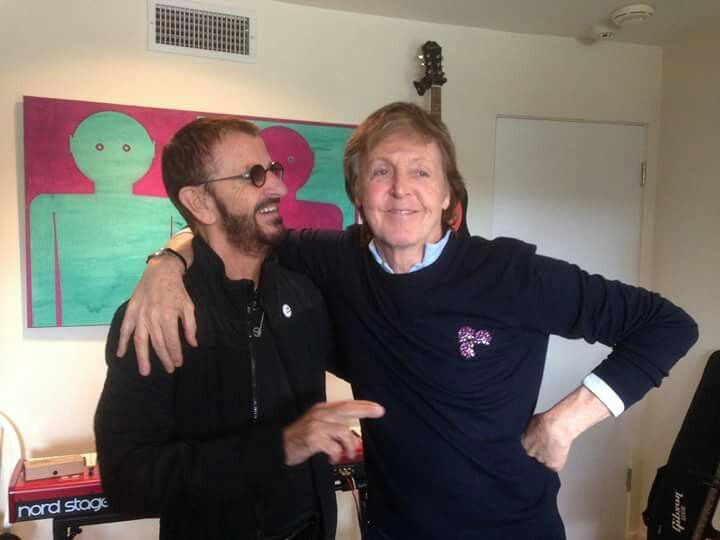 Ringo back in the studio, here with Paul. February 2017.