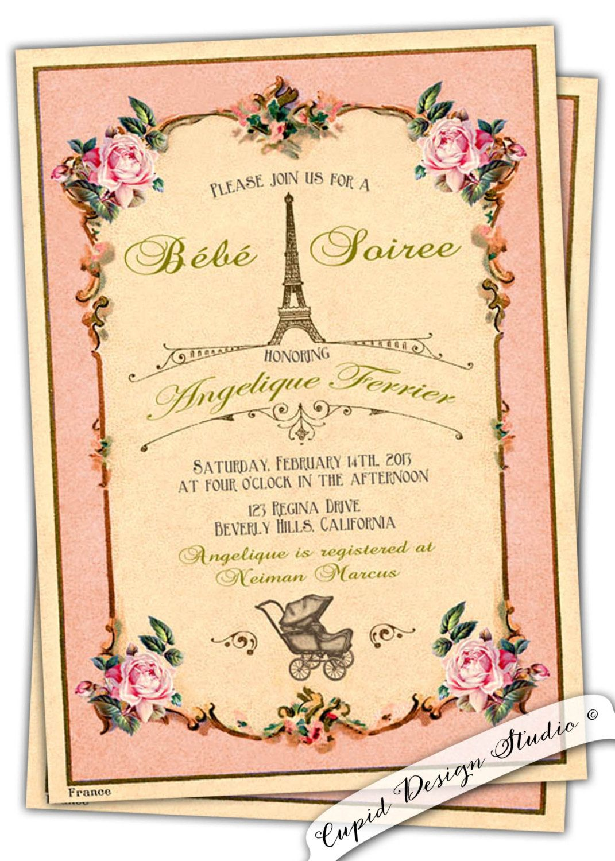 French baby shower invitation/Parisian baby shower/shabby chic baby ...