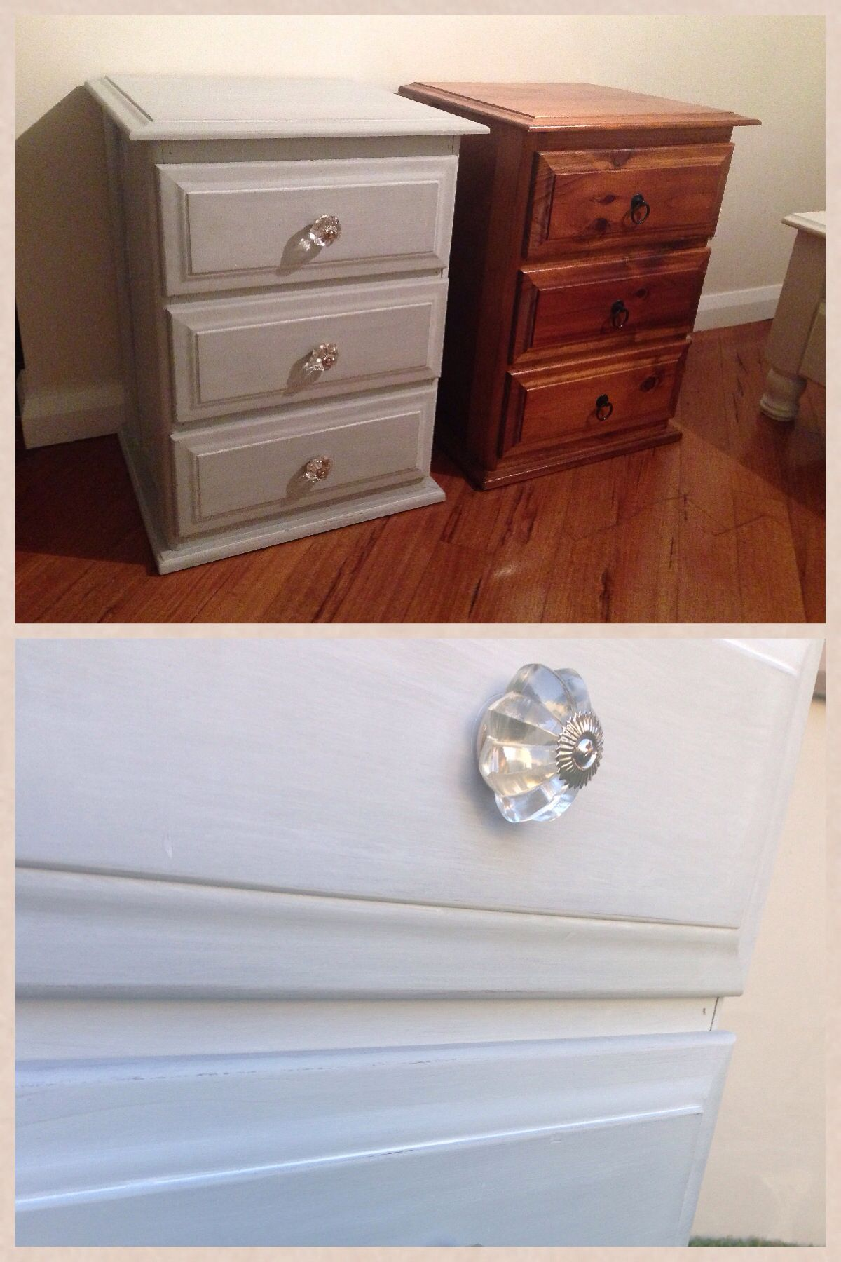 Diy Grey Wash And Glass Star Knobs Bedside Table Upcycle