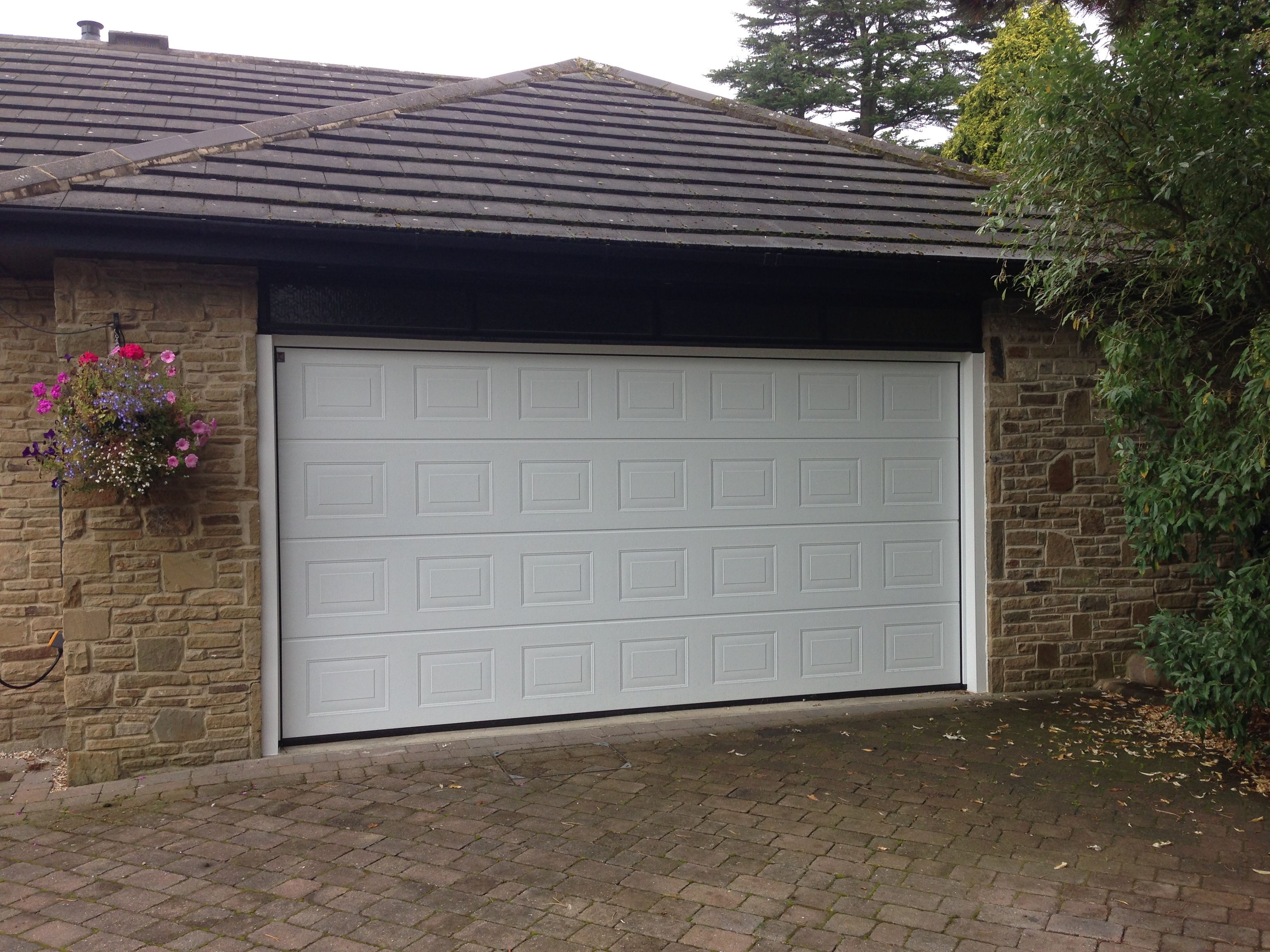 Seceuroglide insulated sectional garage door georgian cassette -  Hormann Lpu40 Insulated Sectional Garage Door In White With Softwood Timber Treated Frame