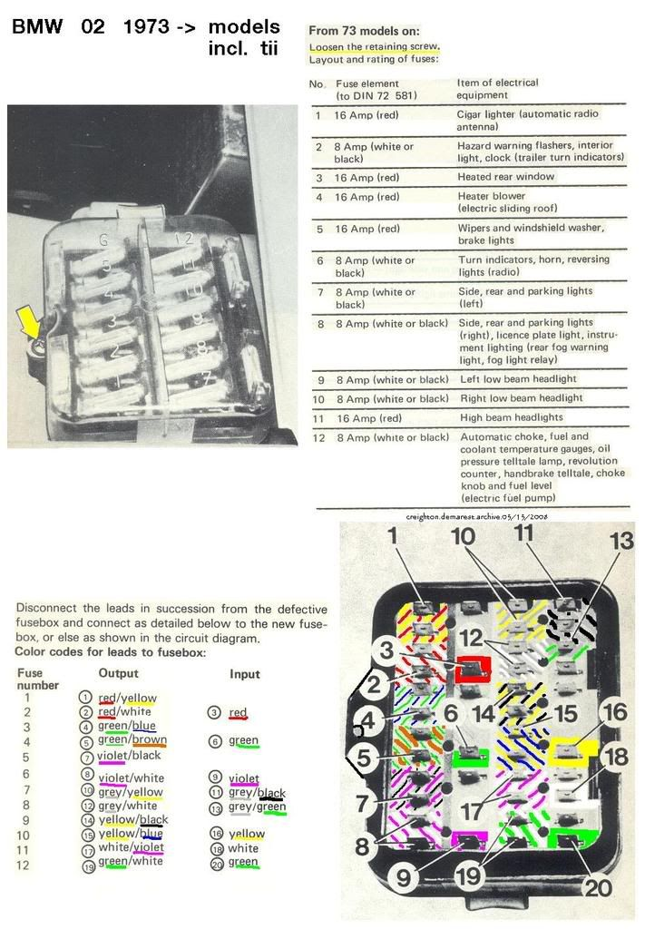 021973on12 fusecolourcode jpg stuff i like pinterest bmw bmw rh pinterest com Wiring-Diagram BMW 2002 E10 1971 bmw 2002 wiring diagram no cost