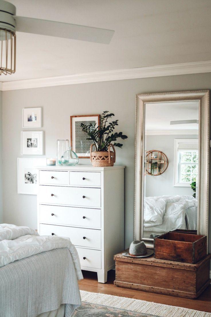 großer Spiegel über LKW! - Master-Schlafzimmer-Licht und Bright Makeover #bedroom with mirrors over nightstands