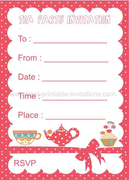Polka Dot Kids Tea Party Invitation Free Printable From Www