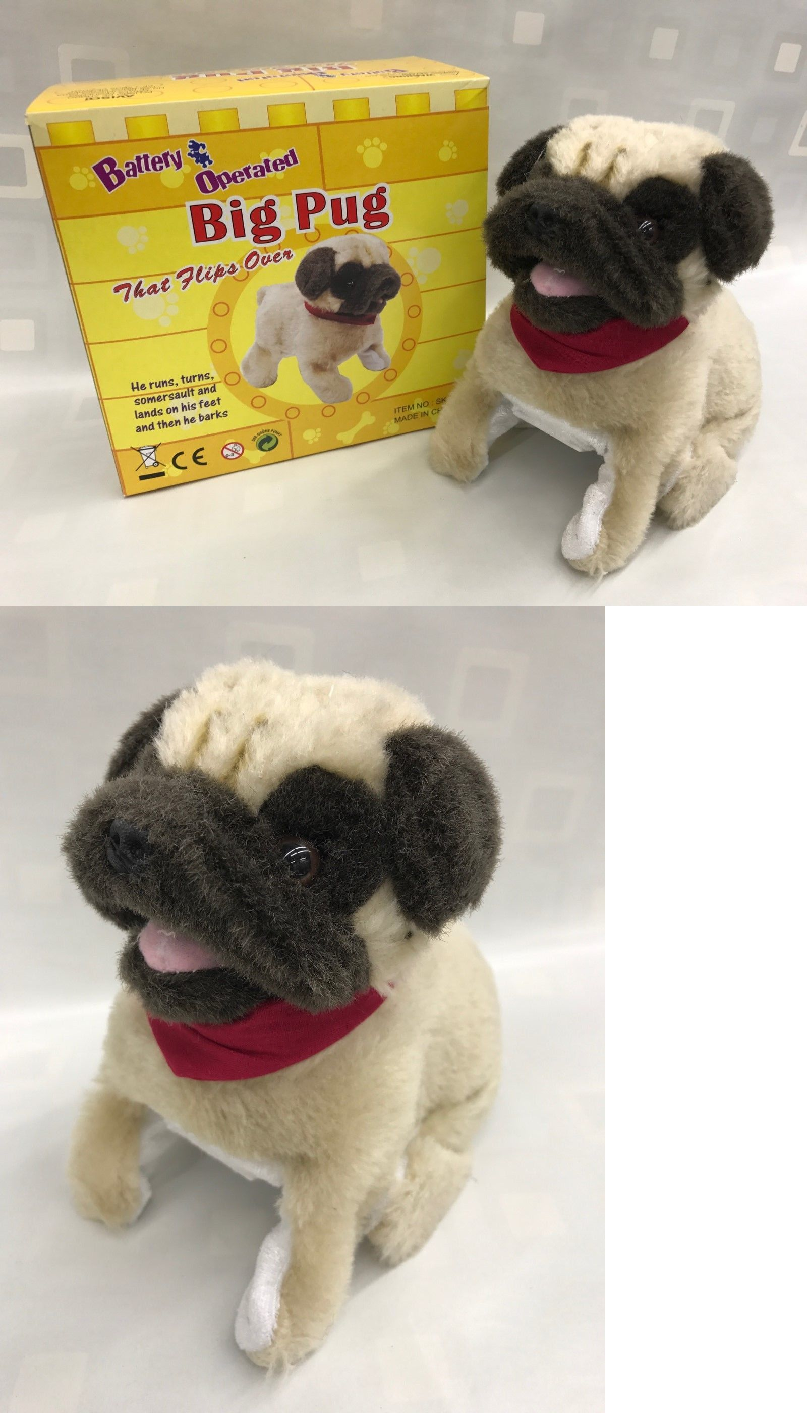 Animals 145942 Pug Big Puppy Flip Over Battery Operated 8 Sk 828