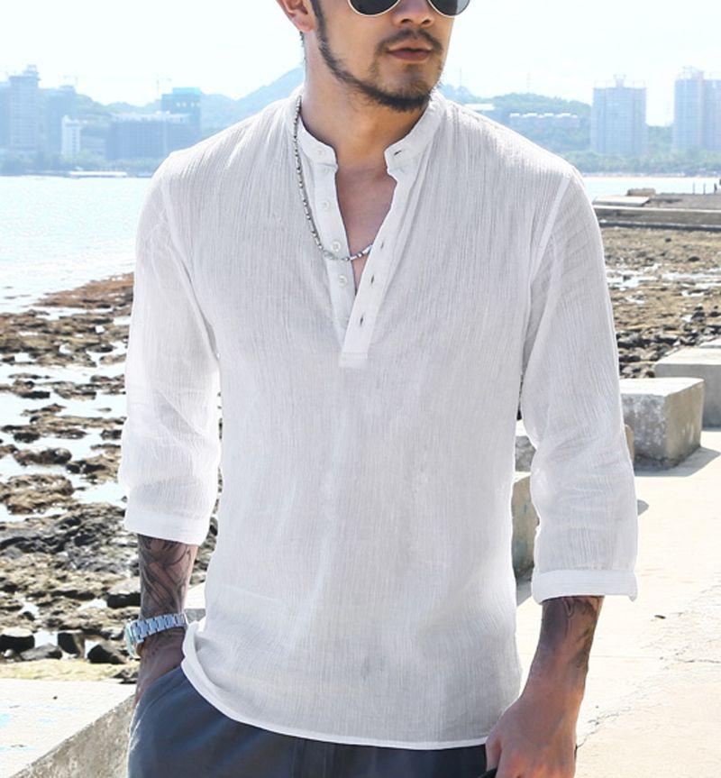 b9088fed4c8 men Shirts Mandarin Collar Cotton Linen Man Shirt Long Sleeve Summer Style  Hawaiian Shirts military Slim