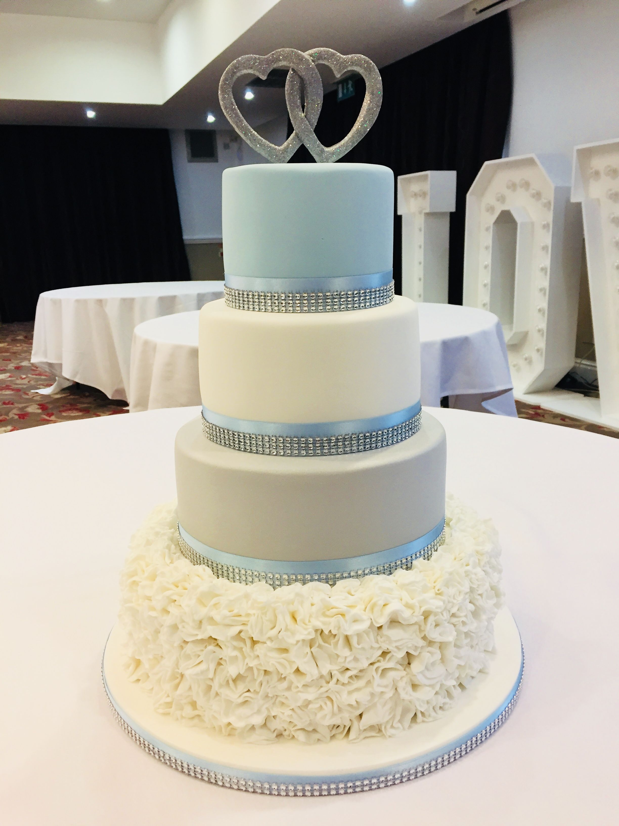 Baby blue and silver wedding cake | My cakes | Pinterest | Wedding ...