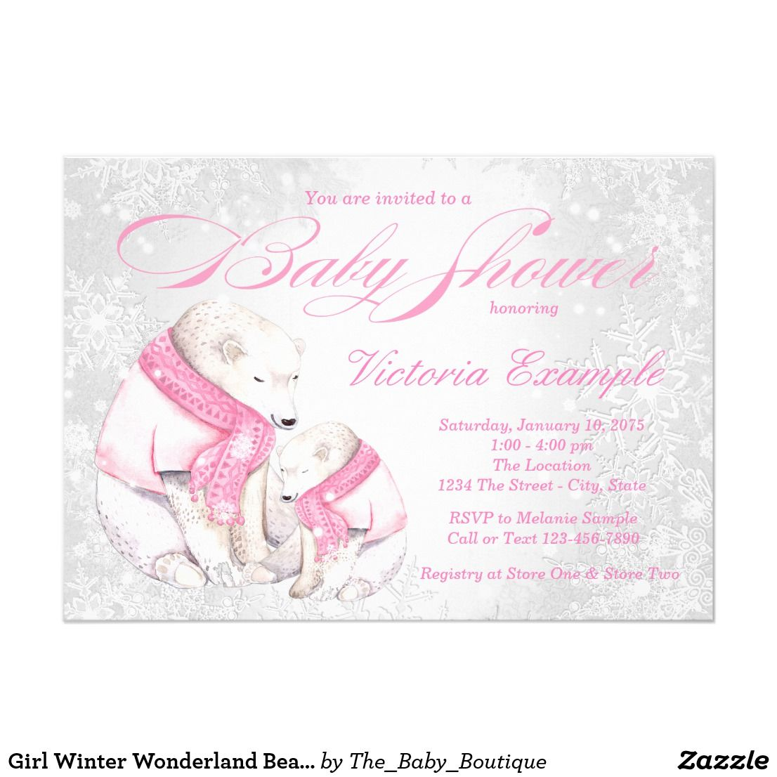 Girl Winter Wonderland Bear Baby Shower Invitation | Bear baby ...