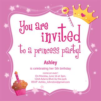 princess party free birthday invitation template greetings island