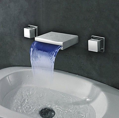 Widespread Wall Mount Waterfall 3 Colors LED Bathroom Sink Faucet T8041