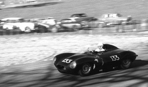 Jerry Austin won the main event in his D-Type Jaguar. Paramount Ranch on March 10, 1957.