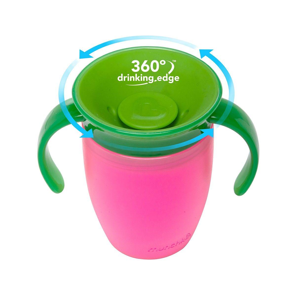 Miracle 360˚ Trainer Cup -- toddler training cup with dentist recommended, spoutless design -- kids can drink from anywhere around the rim, just like a regular cup, but without any of the spills.