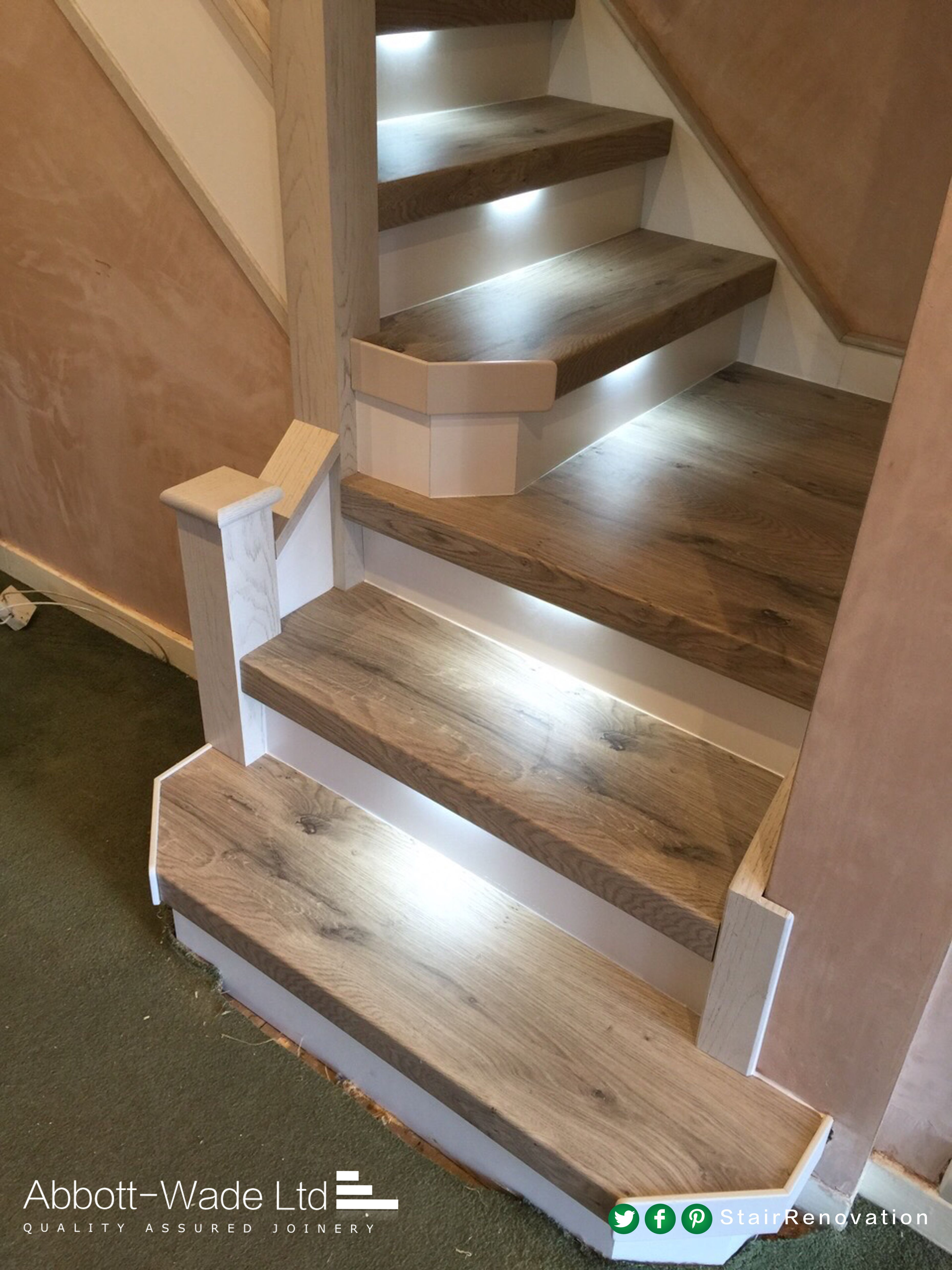 Staircase In Arlington Oak With White Risers Built In Lights | Oak Stairs With White Risers | Natural | Red Oak | Character | Hardwood | Dark Walnut Staircase