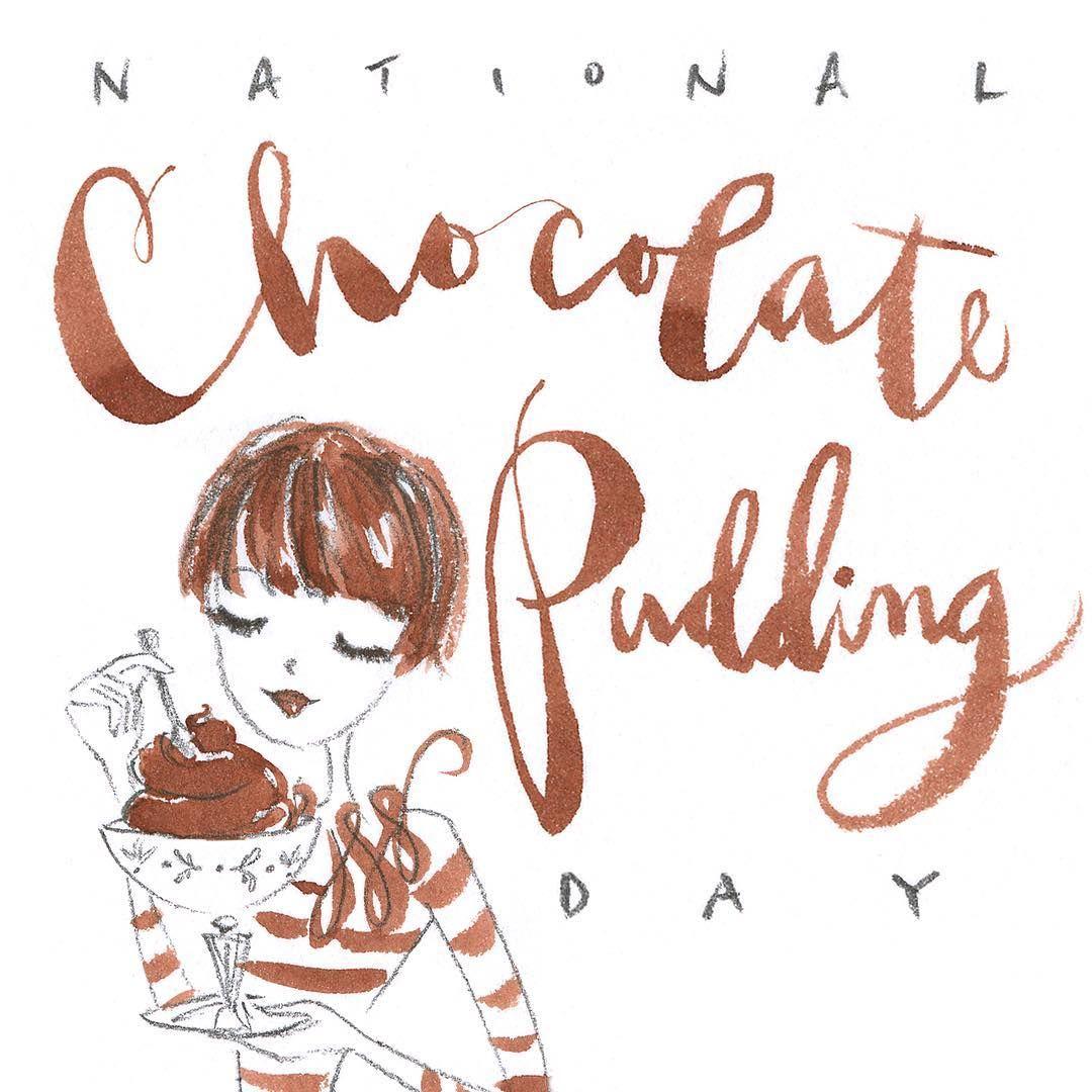 Yum  #nationalchocolatepuddingday #chocolate #favoritedessert #illustration #dessert