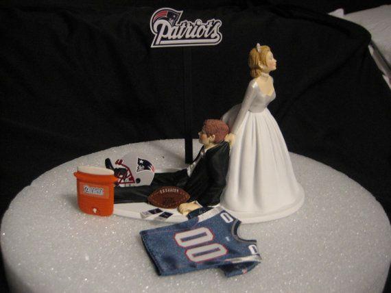 New England Patriots Wedding Cake Topper Bride Groom By