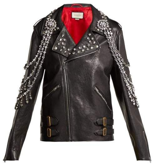 fe2f49513eed Gucci - Yankees Crystal Embellished Leather Biker Jacket - Womens - Black  Multi affiliatelink