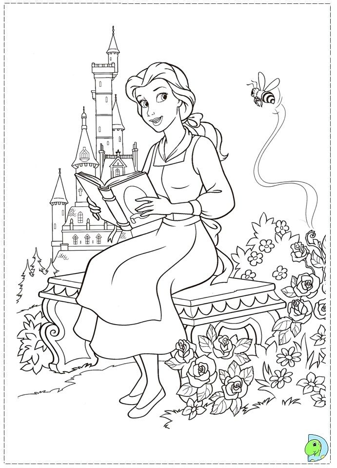 Belle  Beauty  The Beast  Coloring Page  Pinterest  Disney