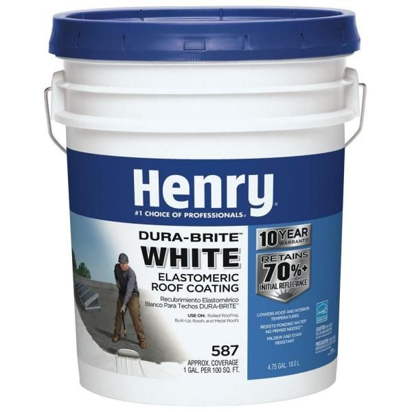 Henry 4 75 Gal Acrylic Reflective Elastomeric Roof Coating He587871 The Home Depot In 2021 Roof Coating Elastomeric Roof Coating Roof
