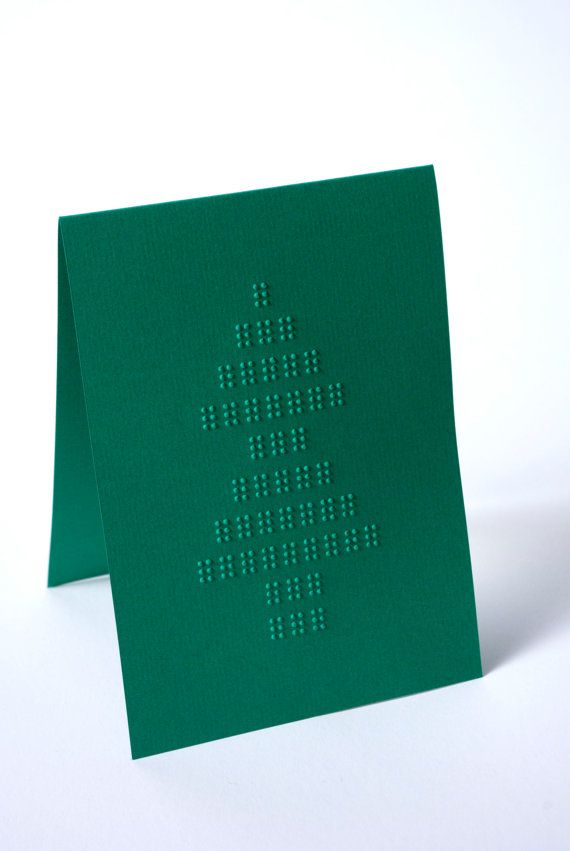 Braille Christmas Card | Christmas Tree | Green | Pinterest