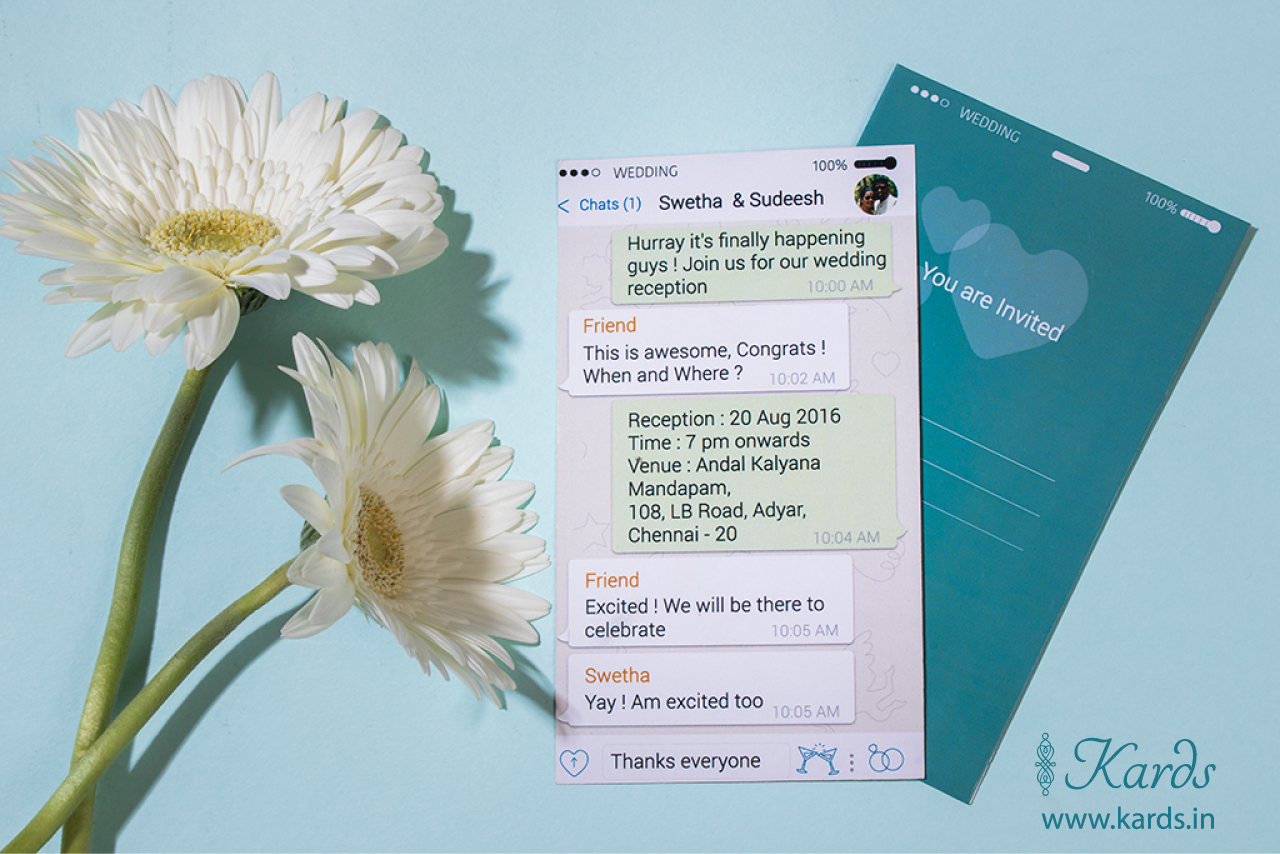 Check Out This Quirky Whatsapp Invitation Did You And Your Fiance Fall In Love Through Whats Trendy Wedding Invitations Fun Wedding Invitations Quirky Wedding