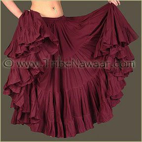 BURGUNDY Cotton Tribal Fusion Gypsy 32 Yard 4 Tier Skirt Belly Dancing Flamenco