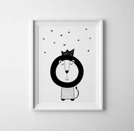 Little lion nursery art print inspired by lion king scandinavian minimalistic style black and