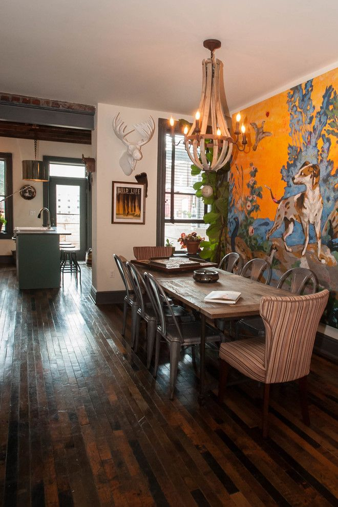 Eclectic Dining Room With Reclaimed Wood Floor   Magical Couple Home In  Pittsburgh, USA