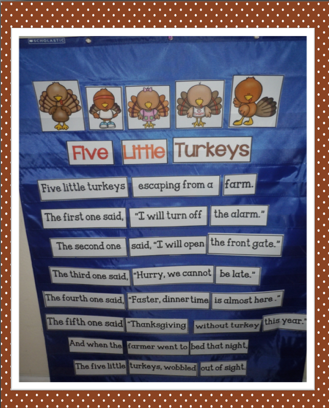 turkey freebie 5 little turkeys poem