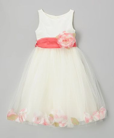 07bc3735e039 Love this Ivory & Coral Rose Petal Dress - Girls by Cinderella Couture on  #zulily! #zulilyfinds