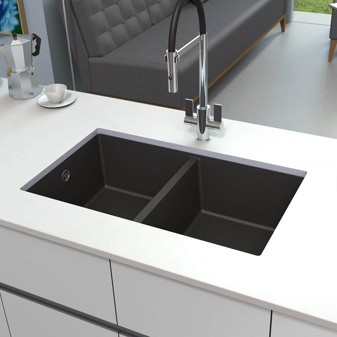 Black Granite Kitchen Sink.Astracast Onyx 2 Bowl Inset Or Undermount Volcano Black