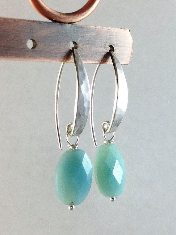 Light Blue Stone Earrings Oval Aqua Ite Gemstones Hammered Silver French Hooks Sterling Jewelry