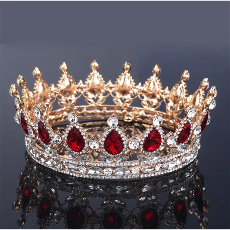 Vintage Baroque Queen King Bride Tiara Crown For Women Headdress Prom