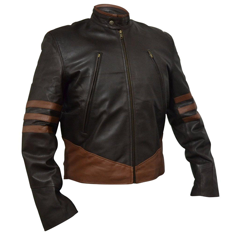 XO XMEN WOLVERINE LEATHER JACKET Brown FAUX Leather, XS