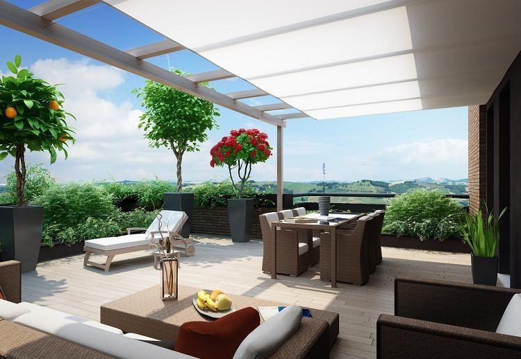terrazze arredate con piante