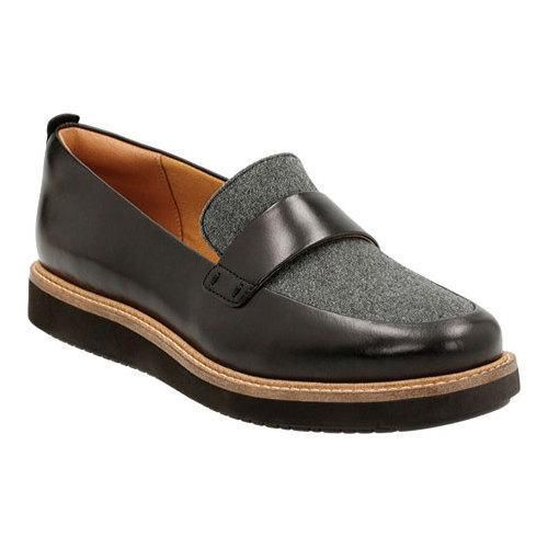 CLARKS Women's Glick Avalee Grey Textile/Black Leather Combo Loafer 7 B (M) TPUOKWx