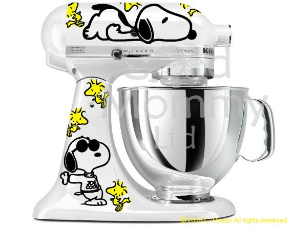 peanuts inspired stand mixer decal kit for your kitchenaid featuring rh pinterest com