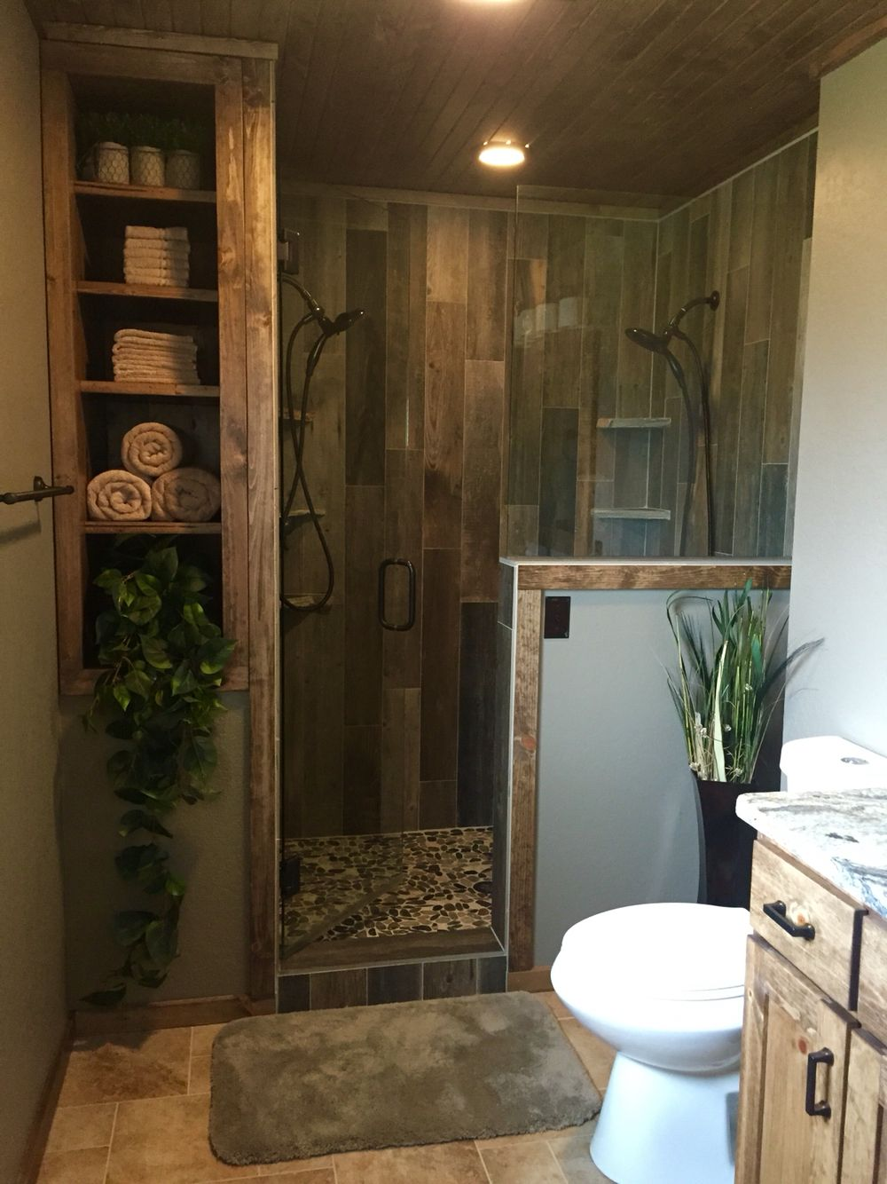 Rustic Master Bathroom Upgrade Wood Tile Shower Custom Bathroom Bath Rooms Pinterest