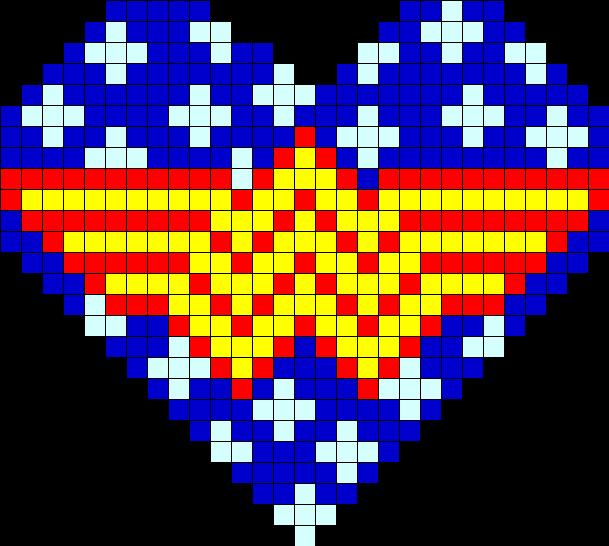 Wonder Woman Star Heart Perler Bead Pattern