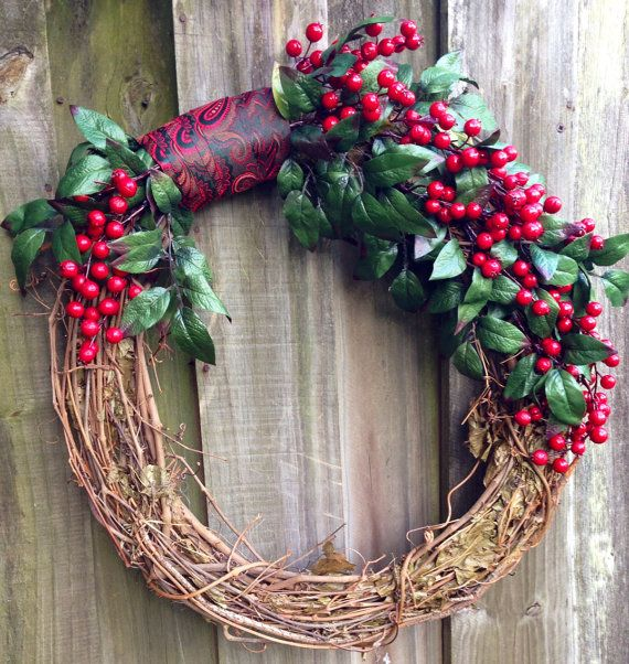 Red berry wreath on a grapevine base with red by ByJennaWithLove, $55.00