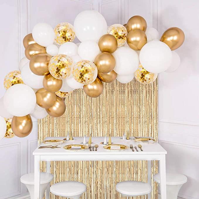 Amazon Com Joyypop White Gold Balloons White Gold Balloon Garland Kit With Gold Gold Birthday Party Decorations Gold Birthday Party Gold Birthday Decorations