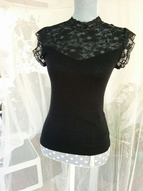 Vintage black wool mix lingerie t shirt top blouse with floral lace. Victorian…