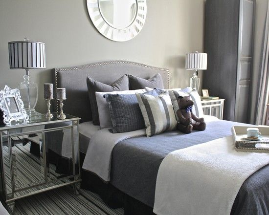 transitional bedroom designs for men with white and gray themed color also light brown wall paint color and gray headboard and gray cushions also white bed - Brown Themed Bedroom Designs