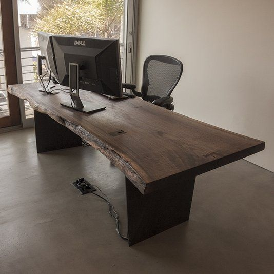 Custom Made Live Edge Black Walnut Slab Desk
