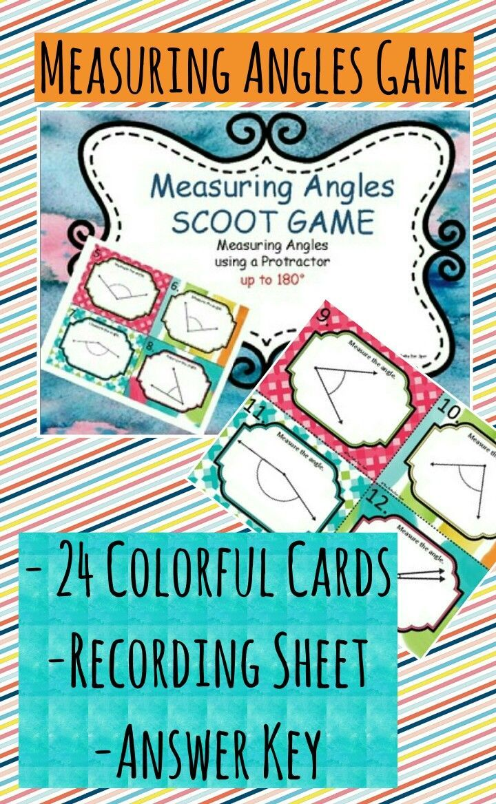 Measuring Angles SCOOT Game and Task Cards | Teaching in 4th Grade ...
