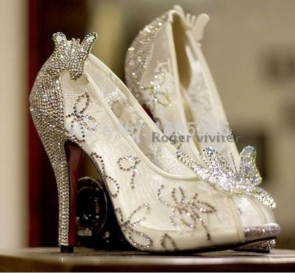 Limited Cinderella Glass Slipper Sandals Crystal Wedding Shoes High Heels Peep Pumps Bowk Cinderella Wedding Shoes Glass Slipper Wedding Shoes Cinderella Shoes