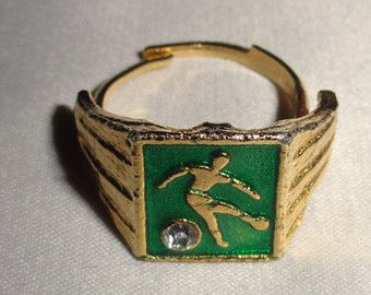 Adjustable Vintage gold plated green Soccer ring very cool piece