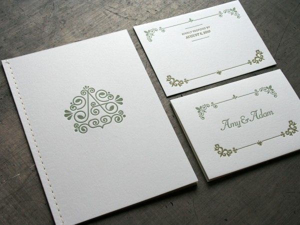 Wedding Booklet Invitation. Love The Illustrated Letter. Nice, Classy Green  Too.