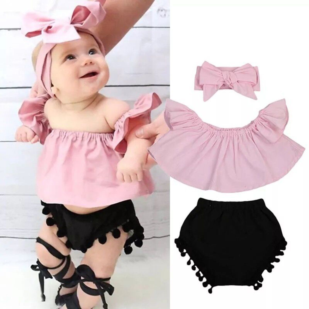 9e8e6cda4 3pcs Toddler Newborn Baby Girl T-shirt Vest Bloomer Headband Outfits ...