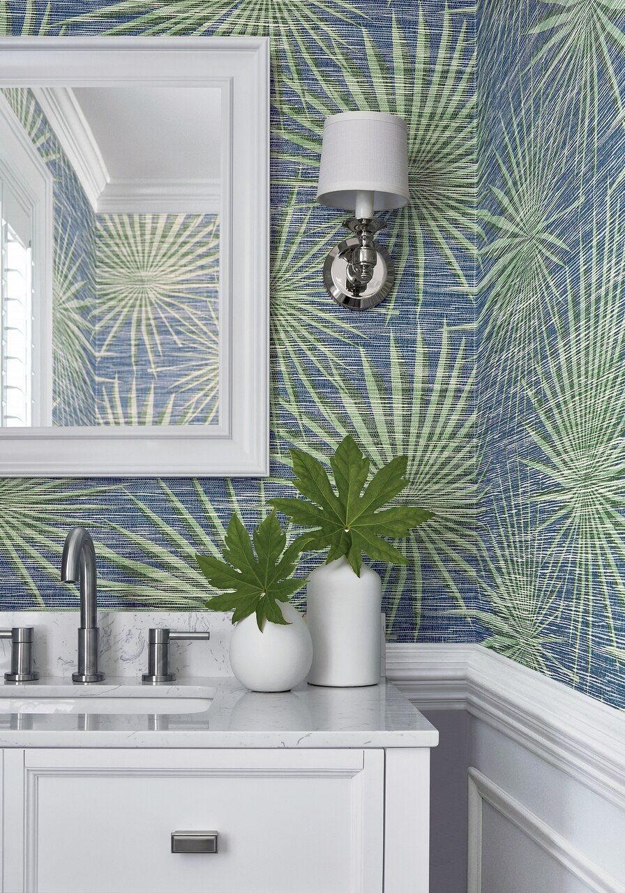 Palm frond navy & green in 2020 Powder room wallpaper
